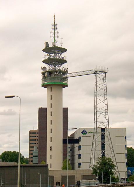 De toren in Amsterdam tijdens bouwwerkzaamheden.