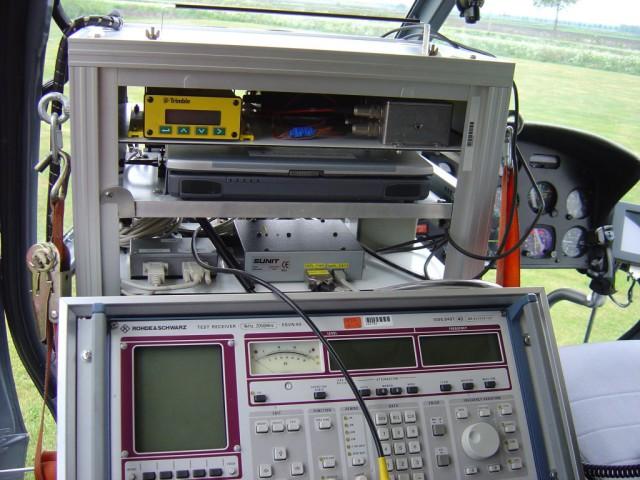 De gebruikte meetapparatuur aan boord van de 'chopper'